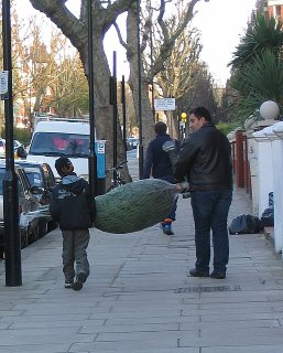 Father and son with carrying Christmas tree