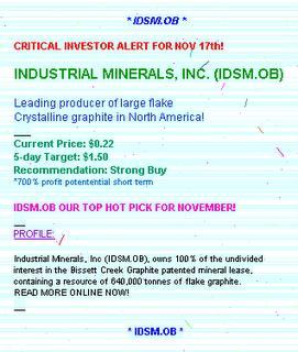 IDSM.OB Industrial Minerals, Inc