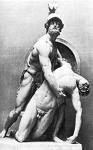 Patroclus being held by Achilles