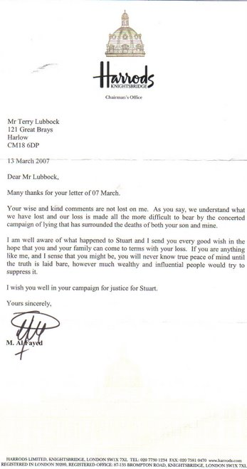 Mr Al Fayed Letter to Terry Lubbock