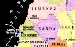 Mapa del Departamento de Jiménez
