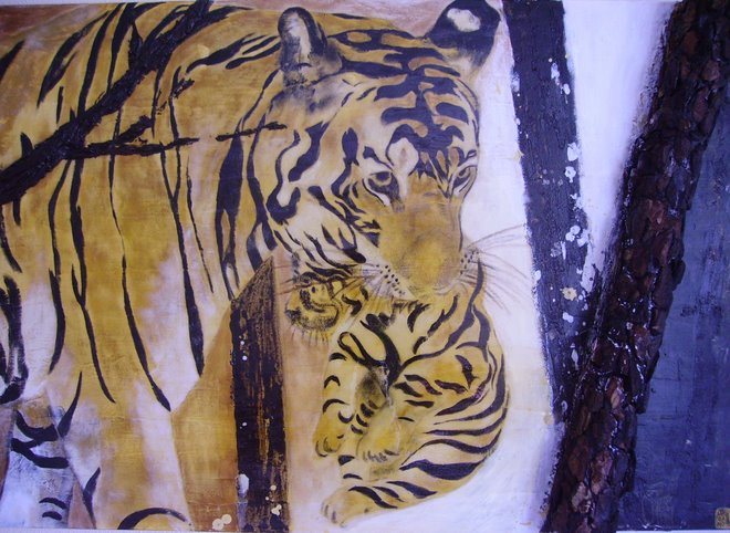 Baby Tiger with his Mum - SOLD