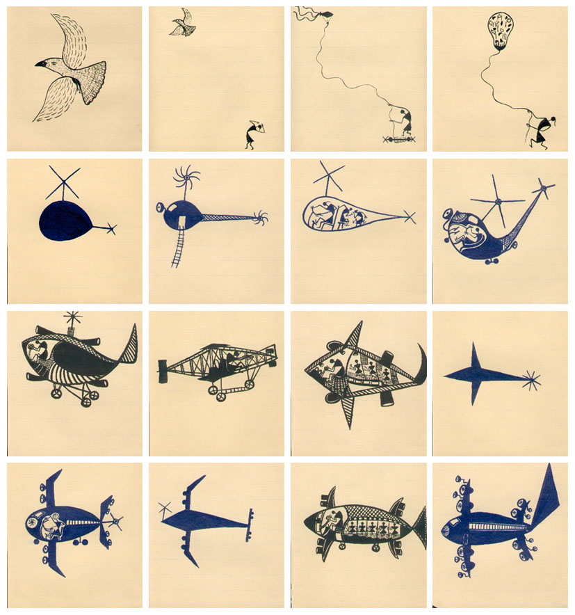 shantaram tumbada, flying story, 1995, 25 inks on paper, 23x21 cm