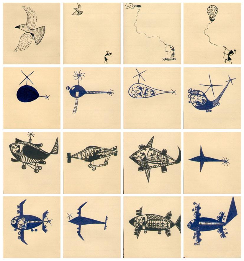 shantaram tumbada, flying story, 1995, 25 inks on paper, 23x21 cm