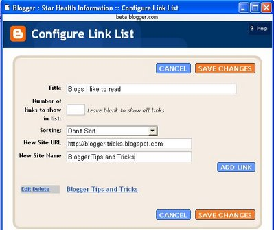 Blogger beta: add more links