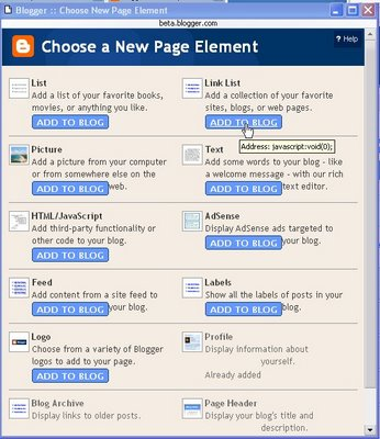 Blogger beta: Choose a new page element