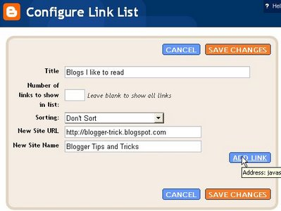 Blogger beta: configure link list
