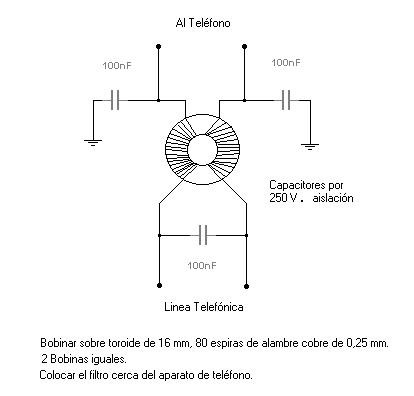Filtro de interferencias para el Telefono