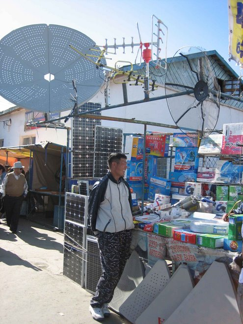 Satellite Dishes and Solar Panels for Sale at Black Market in Ulaanbatar