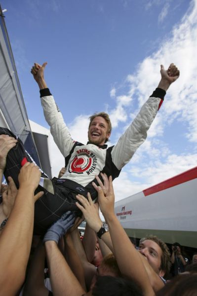 Jenson Button's first win, from HondaRacingF1.com