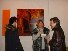 barbara streiff and visitors bevor artwork of martin tsicane
