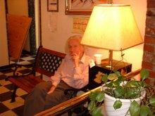 journalist dr.heinrich stüssi in office of pioneer hotel