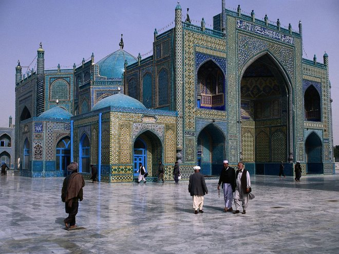 The ocean-blue shrine of Hazrat Ali