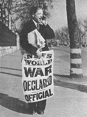 Segunda guerra e declarada oficial nos jornais