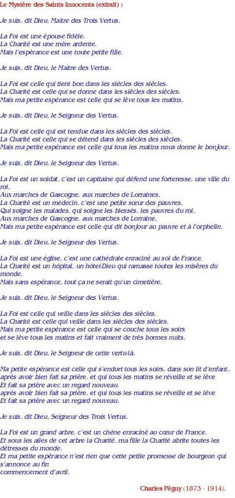 Charles Péguy : Le Mystère des Saints Innocents (extrait)