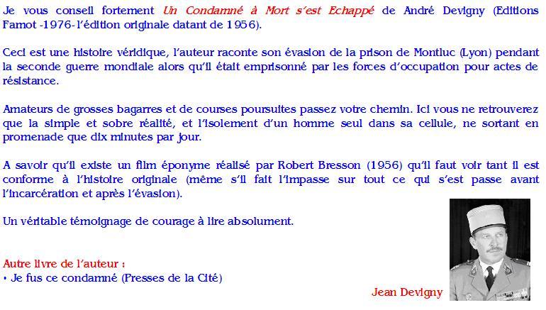 André Devigny : Un Condamné à Mort s'est Echappé
