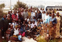 Everybody loves Jerusalem! A group of Nigerian  Pilgrims gather on the Mount of Olives