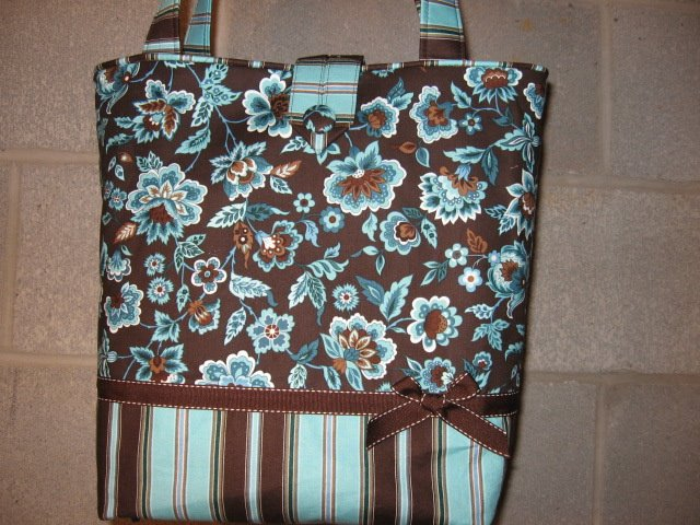 Brown and Blue Tote