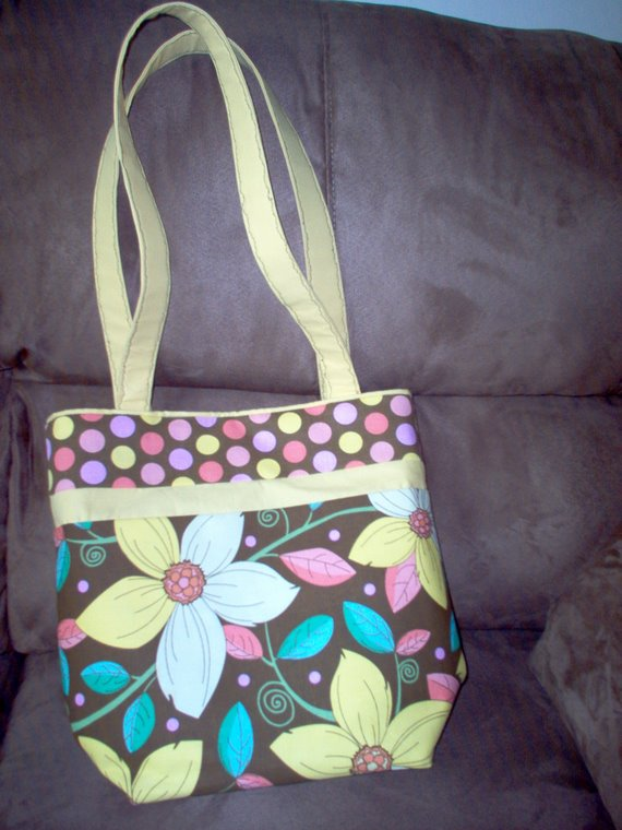 Summer Flowers and Dots Tote