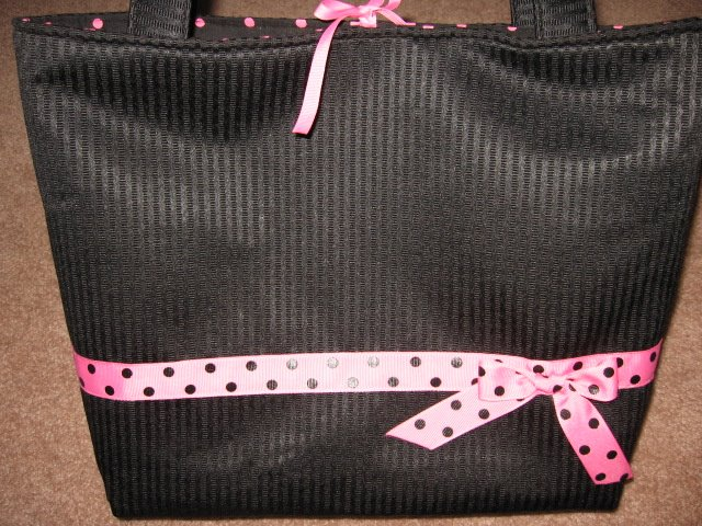 Black Tote Hot Pink Polka Dots