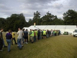 The que for dinner! (During the Build Period)