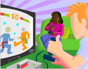 Cartoon Image of Children Playing Video Games