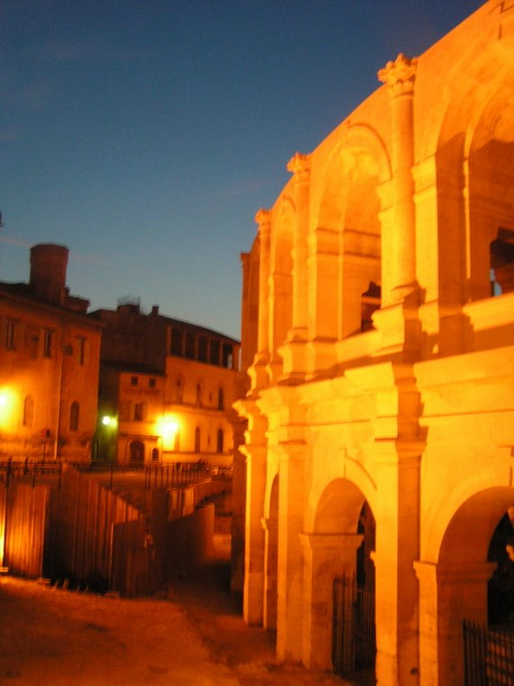 Les Arenes At Night Arles France