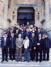 د/ جمال عبد السلام مع عبد السلام هنية ومنتخب فلسطين فلسطين لكرة السلة