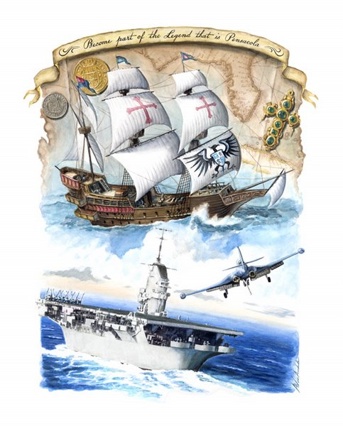 History of Pensacola USS ORISKANY  T-shirt $18.95 plus $5.95 shipping