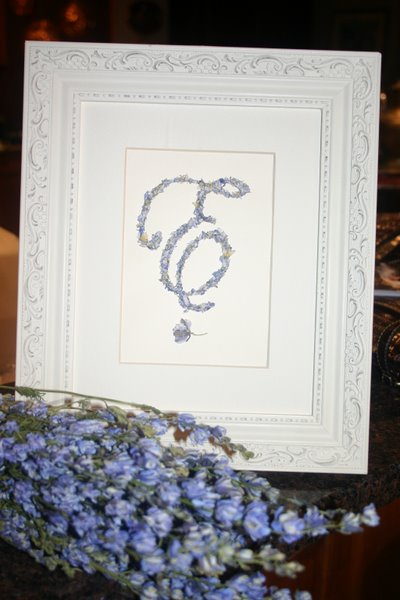 SINGLE INITIAL MONOGRAM IN BLUE LARKSPUR