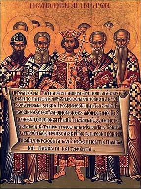 Fedrene på konsilet i Nikea i 325 og keiser Konstantin med Credo