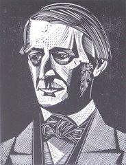 Una pintura con el rostro del filósofo y escritor Ralph Waldo Emerson