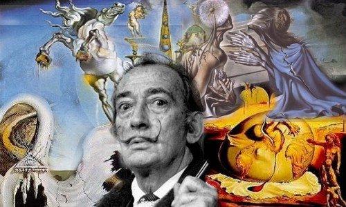 Collage con pinturas de fondo del gran pintor español Salvador Dalí