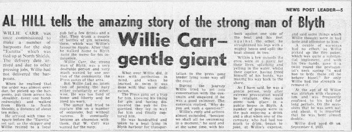 WILLIE CARR - STRONG MAN OF BLYTH