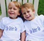 Jack and Charlie wearing Go Grier Go T's