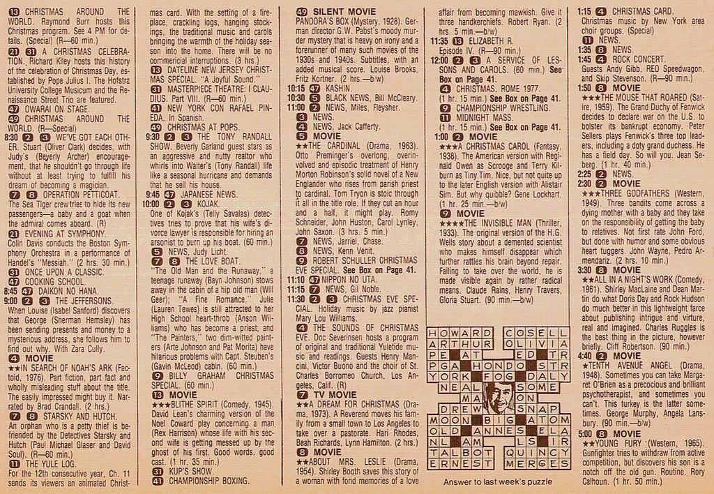 Newsday Tv Book Reviews Christmas Eve Listings Newsday 1977