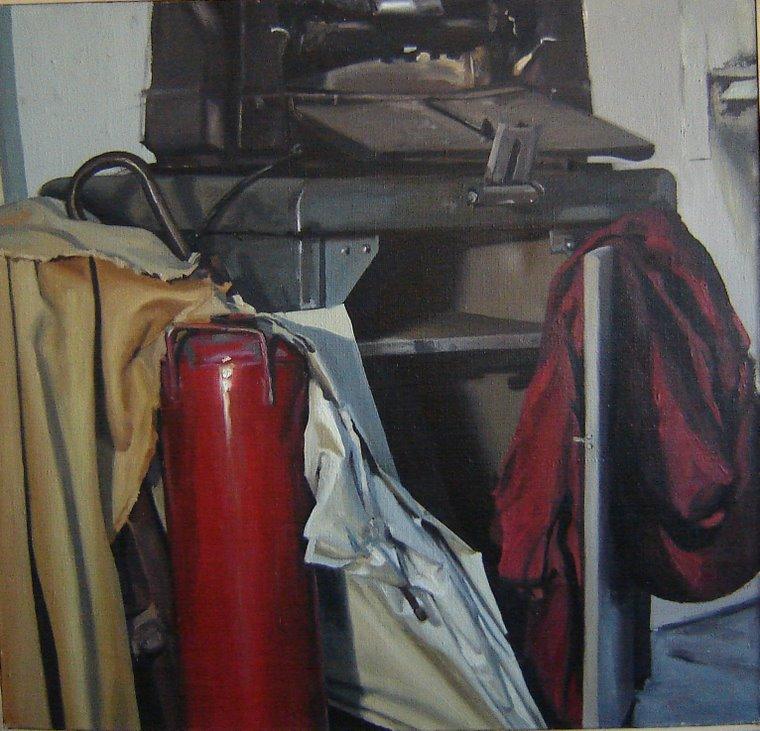 """Paraguas y extintor"" óleo sobre tela"