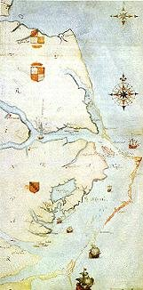 <b>1584 Map of Chesapeake Bay by John White </b>
