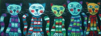 Familia de gatos (16,5 x 6 cms.)