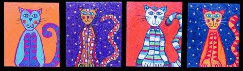 Gato, gato, gato y Gato (9 x 11 cms. c/u)
