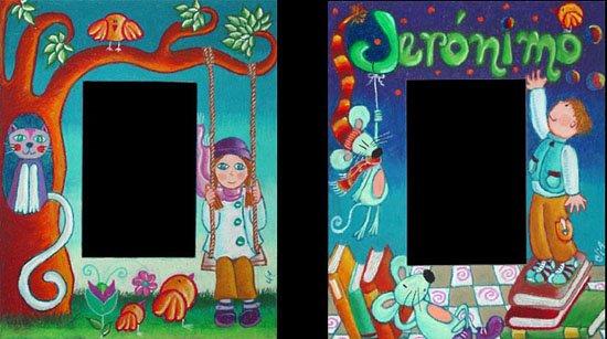 Marco para Noelle y Marco para Jerónimo (22 x 27 cms.c/u para fotos de 10 x 15)