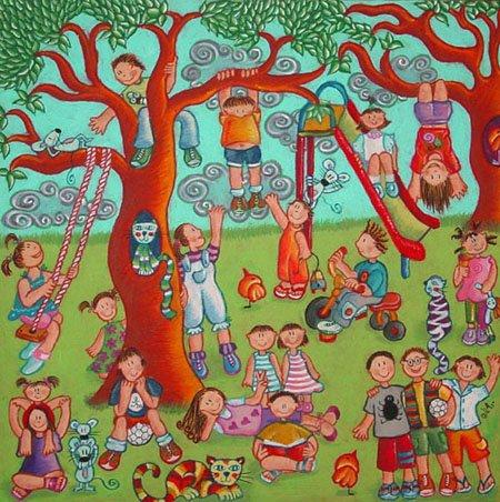 Niños en el Parque (40 x 40 cms.)