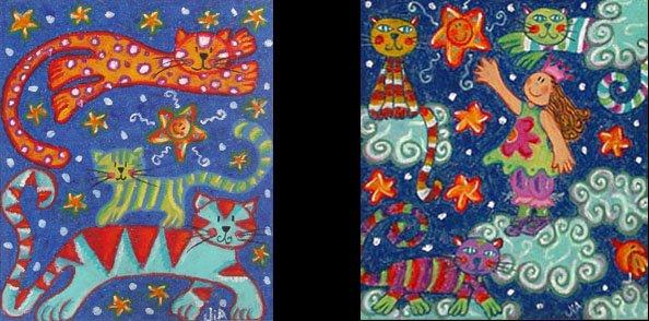 Tres Gatos y Niña con tres gatos (20 x 17 cms.c/u)