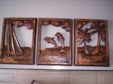 Triptico Paisaje tallado en madera