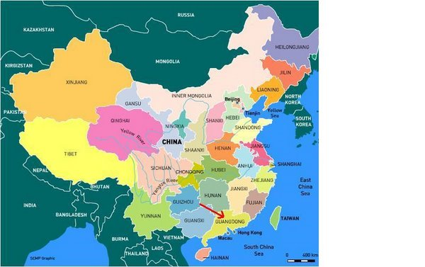 Map of Chinese Provinces