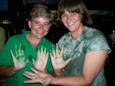 Yzelle & Lindy  made sure that everyone drank green beer on St Paddy's Day