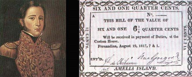 Billet de 6 1/4 signé de Gregor MacGregor, Isla Amelia, 1817