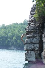 Katy bouldering at Summersville Lake