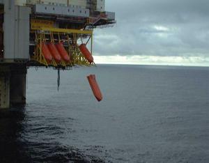 Les canots de Sauvetage (free fall) sur une plateforme