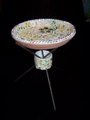 Mosaic Tripod Birdbath